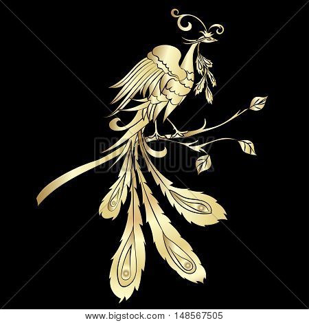Golden silhouette fantastic fire-bird are on black background. Vector illustration Ornate bird drawing decorated with abstract ornaments