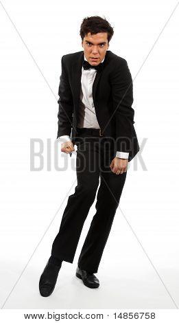 Businessman In Flexible Dancing Pose