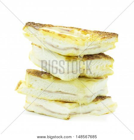 Sandwich Cheese With Ham Topping With Honey