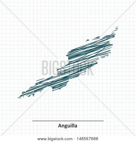 Doodle sketch of Anguilla map - vector illustration