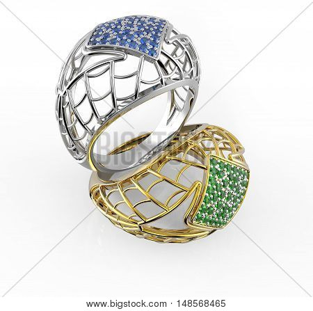 Rings with Diamonds. 3d digitally rendered illustration