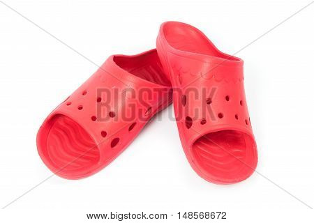 Red sandal shoes isolated on white background