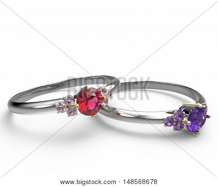 Engagement rings with diamonds on a white background. Fashion jewelry. 3d digitally rendered illustration