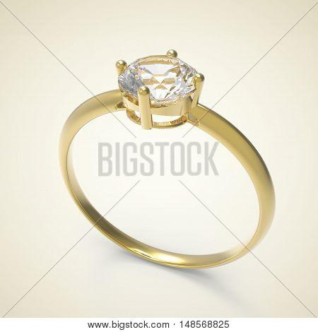 Diamond Ring on a light background. 3d digitally rendered illustration
