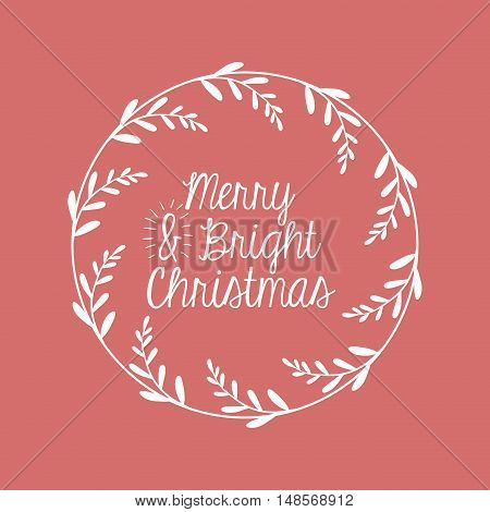 ornament and rustic leaf crown icon. Merry Christmas season and decoration theme. Vector illustration