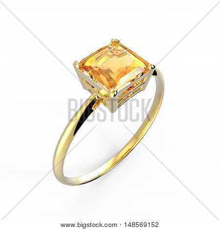 Wedding ring with diamond isolated on a white background. Fashion jewelery. 3d digitally rendered illustration