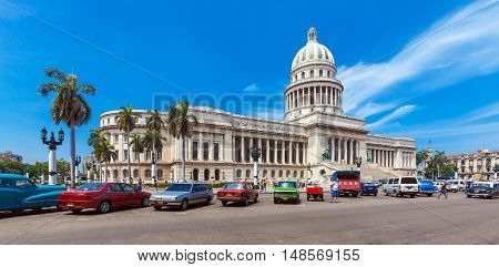 Havana, Cuba - April 1, 2012: Many Retro Cars Parked In Front Of Capitolio