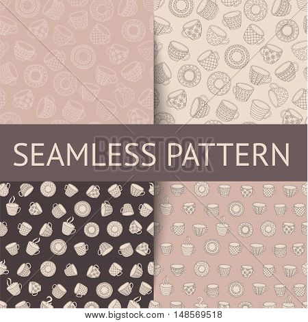 Set of seamless patterns and textures with doodle cups can be used for background, banners, menus, flyers, advertising, web design, textiles.