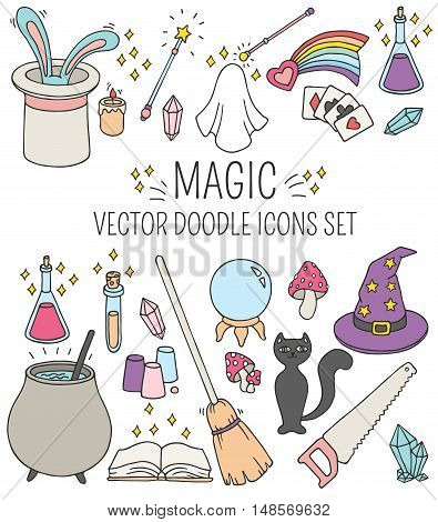 Set of doodle vector magic icons. Halloween Concept. Hand drawn illustration.