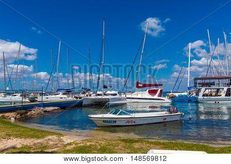 Cienfuegos, Cuba - March 24, 2012: Many Yachts In Marina
