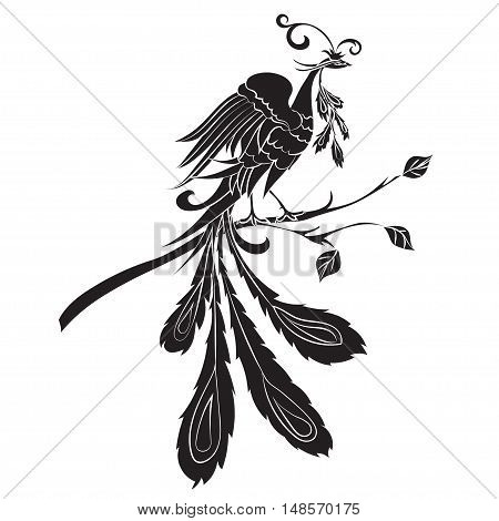 Black silhouette fire-bird are on a white background. Vector illustration Ornate bird drawing decorated with abstract ornaments