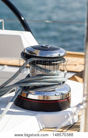 Rope around the capstan on a sailboat