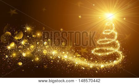 Greeting Card Christmas Tree Gold. Vector Illustration