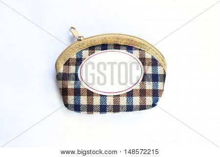 simple and beautiful brown leather wallet on white background