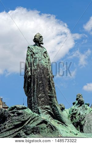 The statue of Jan Hus one of the most important personalities in Czech history in Old Town Square in Praque. He was burnt as a heretic for reformist ideas.