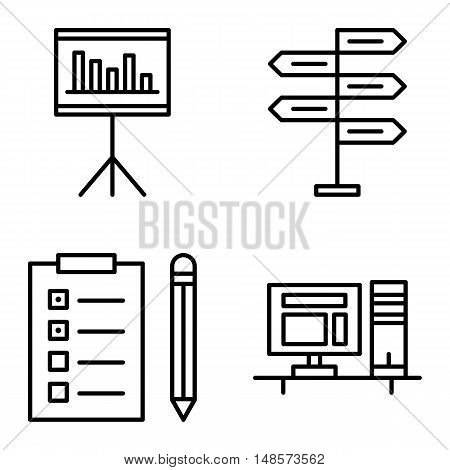 Set Of Project Management Icons On Decision Making, Task List And Statistics. Project Management Vec