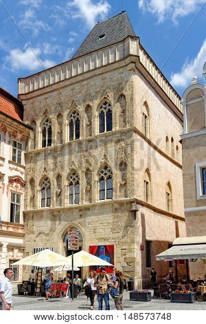 PRAGUE, CZECH REPUBLIC - JULY 3, 2014: The House at the Stone Bell in the Old Town Square in Gothic style. It used to be palace of the King of Bohemia now a picture gallery and a venue for concerts.