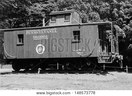 Altoona, Pennsylvania USA - June 13, 1964.  Pennsylvania Caboose N-6B # 9801901 At The Horseshoe Curve 1964