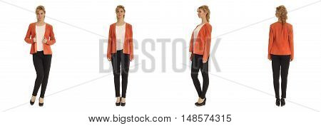 Cute Woman In Orange Jacket Isolated On White Background