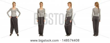 Attractive Young Woman In Loose Pants Isolated Over White