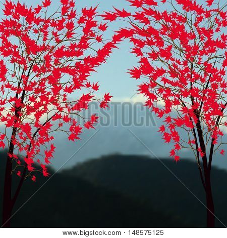 Greeting card with autumn landscape. Red maples. Japanese red maple on a background of mountains with snow-capped peaks. Vector illustration