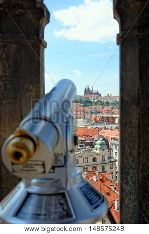 Coin operated spyglass on the City hall tower Prague Chech republic