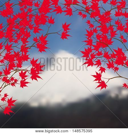 Greeting card with autumn landscape. Red maple leaves on branches on both sides. Japanese red maple on a background of mountains with snow-capped peaks. Vector illustration