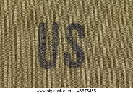 US initials on green khaki military tent