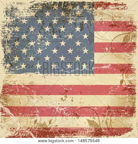 Flag day badge background Vintage card with American flag