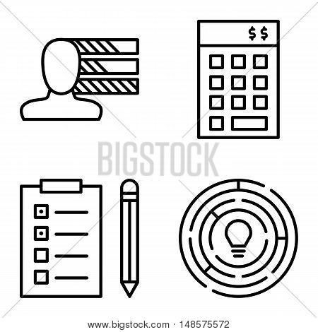 Set Of Project Management Icons On Personality, Creativity And Task List. Project Management Vector