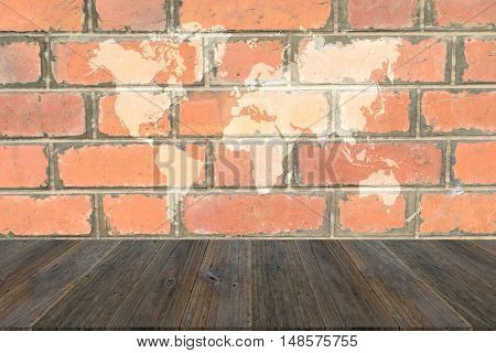 Red Brick Wall Texture Surface With Wood Terrace And World Map