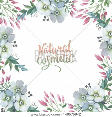 Wildflower lily flower frame in a watercolor style isolated. Full name of the plant: lily, lilium, lotus, water lily. Aquarelle flower could be used for background, texture, pattern, frame or border.
