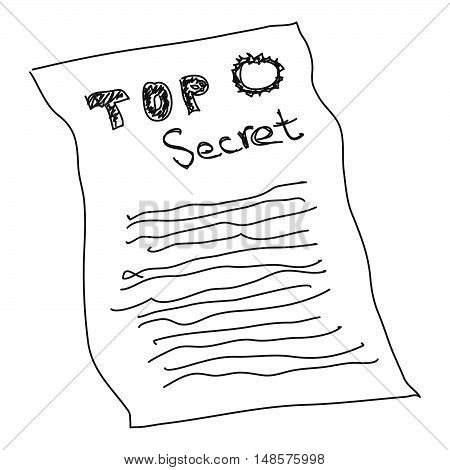 Doodle Sketch Of A Secret Document On White Background