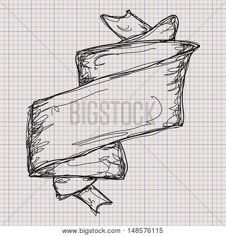 Doodle Sketch Of A Banner On Graph Paper Background