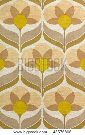 Old sixties wallpaper with yellow and brown flowers