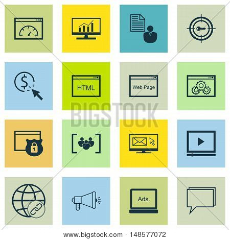 Set Of Seo, Marketing And Advertising Icons On Target Keywords, Video Advertising, Website Protectio