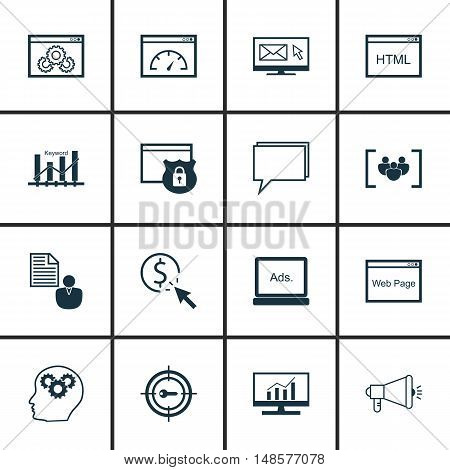 Set Of Seo, Marketing And Advertising Icons On Web Page, Viral Marketing, Pay Per Click And More. Pr