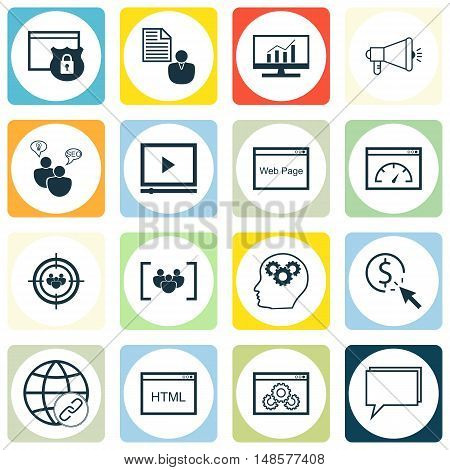 Set Of Seo, Marketing And Advertising Icons On Viral Marketing, Focus Group, Video Advertising And M