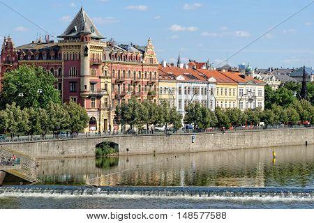 Right bank of the river Vltava in Prague Czech Republic.