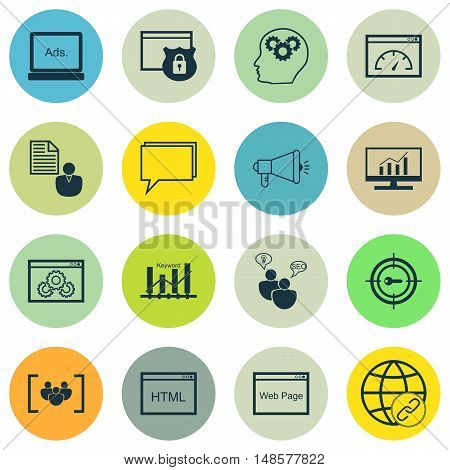 Set Of Seo, Marketing And Advertising Icons On Comprehensive Analytics, Client Brief, Web Page And M