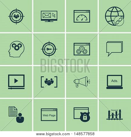 Set Of Seo, Marketing And Advertising Icons On Focus Group, Link Building, Client Brief And More. Pr