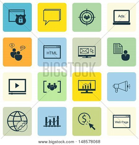 Set Of Seo, Marketing And Advertising Icons On Client Brief, Focus Group, Audience Targeting And Mor