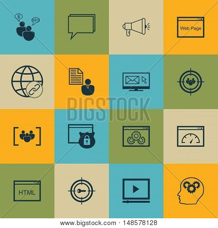 Set Of Seo, Marketing And Advertising Icons On Link Building, Creativity, Video Advertising And More