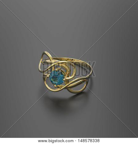 Wedding ring with diamond. Stylish Jewelry. 3d digitally rendered illustration