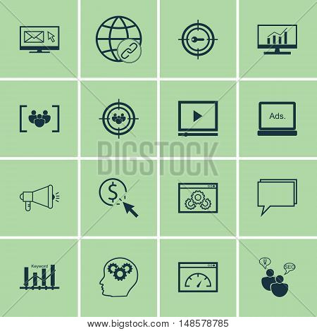 Set Of Seo, Marketing And Advertising Icons On Video Advertising, Email Marketing, Comprehensive Ana