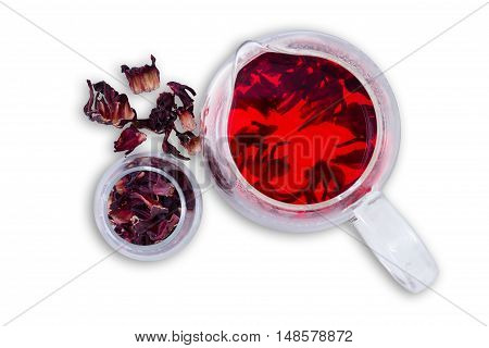 Hibiscus Hot Tea Served In Glass Pitcher