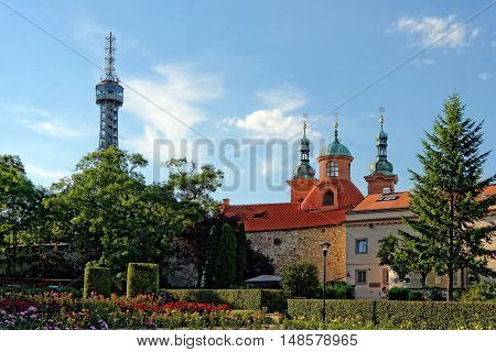 Petrin Tower St. Lawrence Church Chapel of the Holy Sepulchre and Calvary and The Hunger Wall Prague Czech Republic.