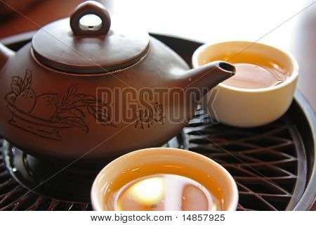 Traditional chinese tea service with ceramic pot and stand