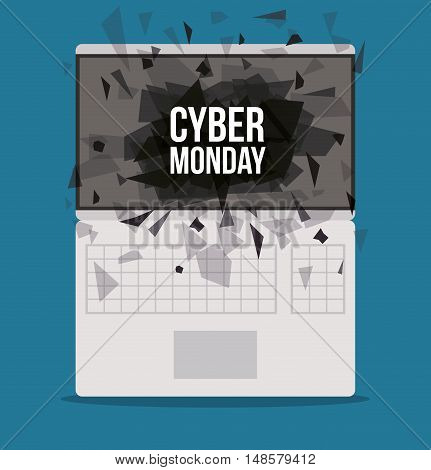 Cyber Monday and laptop icon. ecommerce sale decoration and advertising theme. Colorful design. Vector illustration