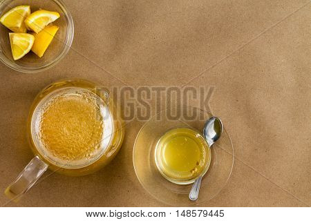Serving Of Linden Tea And Lemon With Copy Space